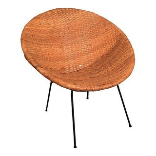 "Tour Lauren Conrad's Elegant, Light-Filled Home in the Pacific Palisades - Photo 10 of 23 - Chairish ""Mid Century Wicker Hoop Chair"", $250"