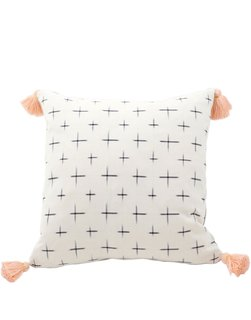 "Tour Lauren Conrad's Elegant, Light-Filled Home in the Pacific Palisades - Photo 14 of 23 - Little Market ""Gaia Ikat Tassel Pillow"", $155"