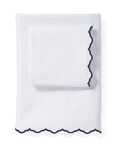 The #1 Small-Space Hack New Yorkers Swear By - Photo 14 of 16 - Serena & Lily Scallop Embroidered Sheet Set ($128)