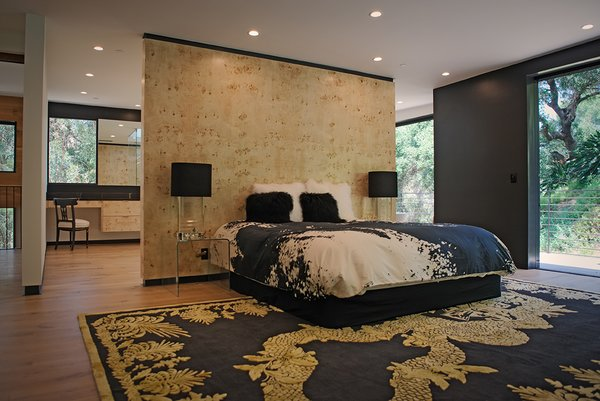 Modern home with bedroom, bed, chair, night stands, recessed lighting, medium hardwood floor, and lamps. Photo 11 of Sherwood Forest