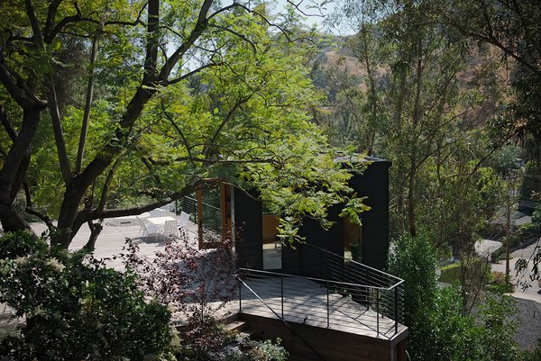 Modern home with outdoor, large patio, porch, deck, wood patio, porch, deck, metal fence, trees, shrubs, and front yard. Photo 13 of Sherwood Forest