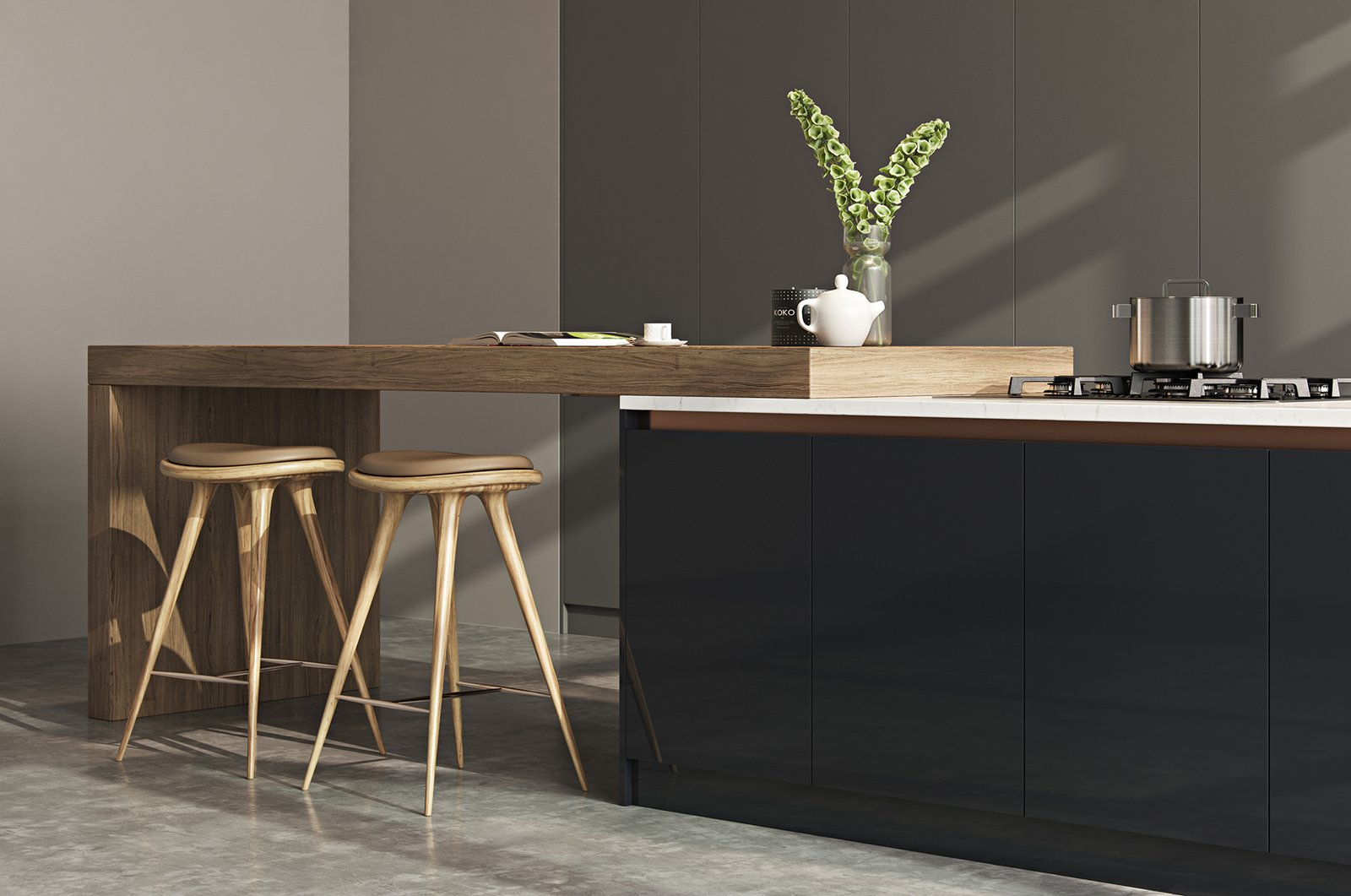 Tagged: Kitchen, Laminate Cabinet, Wood Cabinet, Marble Counter, Concrete Floor, and Range.   from Kitchen//Extension