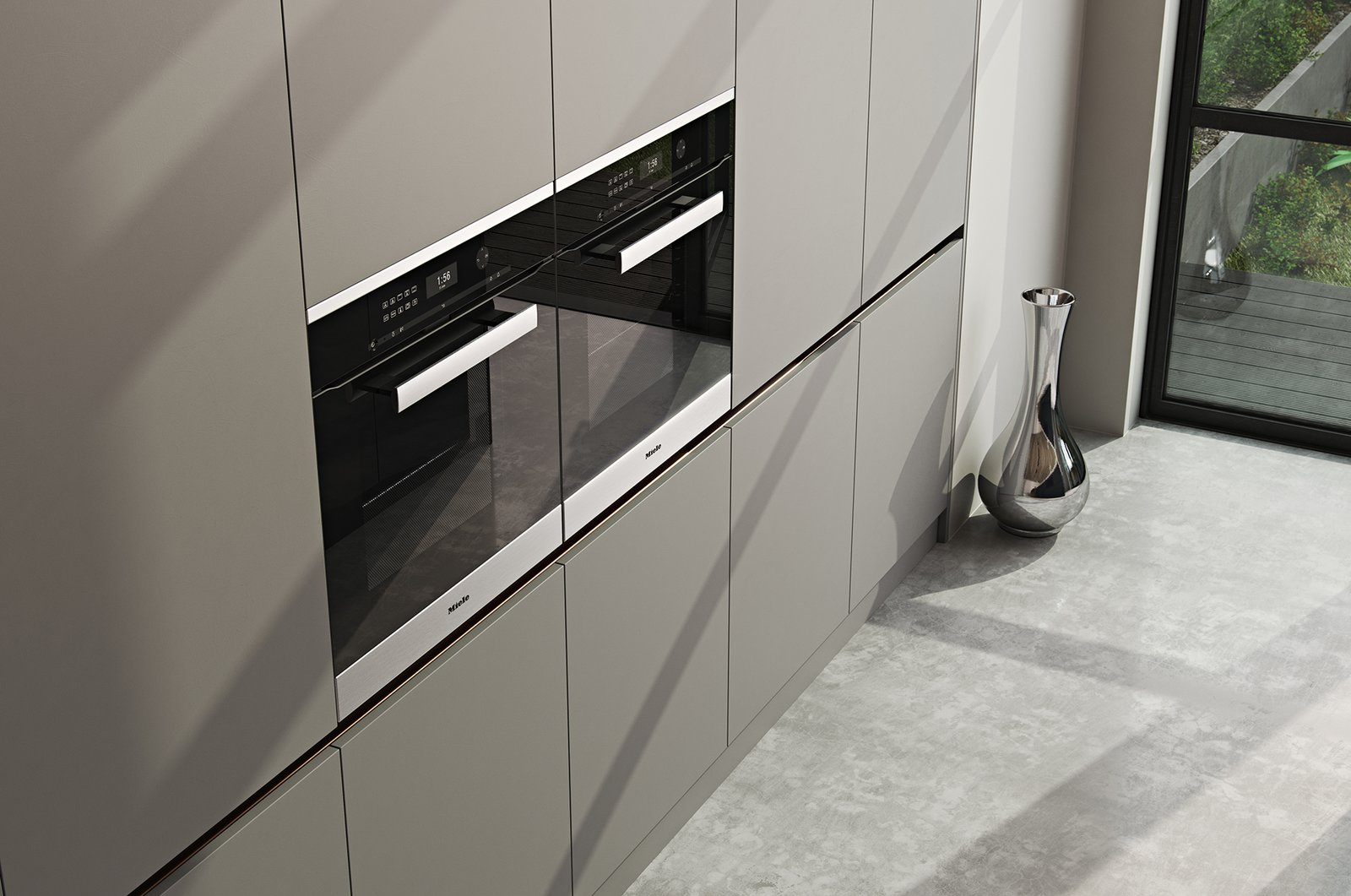 Tagged: Kitchen, Wall Oven, Concrete Floor, and Laminate Cabinet.   from Kitchen//Extension