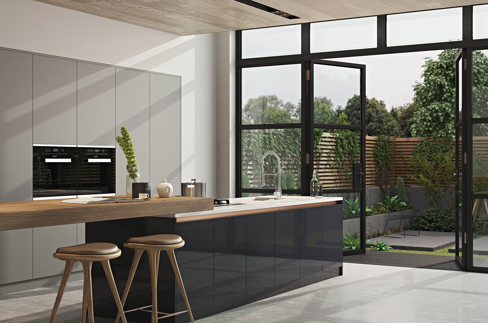 Tagged: Kitchen, Marble Counter, Wood Cabinet, Laminate Cabinet, Recessed Lighting, Wall Oven, Concrete Floor, Undermount Sink, and Cooktops.   from Kitchen//Extension