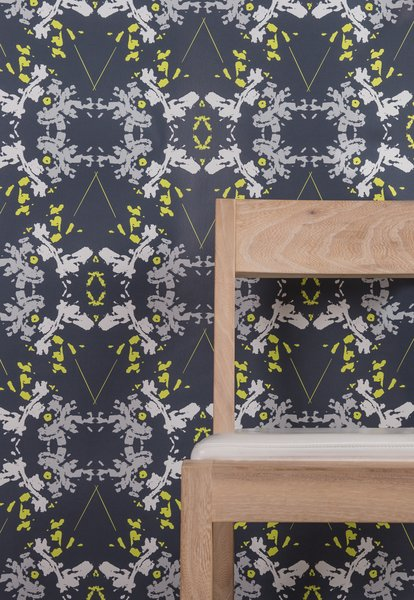 Blackish Magic (Midnight/Chartreuse) Wallpaper; also available as Type II paper