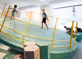 There's nothing brutal about the interior of this Brutalist-inspired playground in the Royal Institute of British Architects. Pastel foam replaces the cold cement shapes found at most vintage British Brutalist playgrounds. Its edgy, off-kilt angles are balanced with its soft hues and materials. Together, this modern spin-off designed by Assemble repackages the stern structures of the past into a sweet and palpable escape.