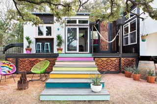 Interior designer Kim Lewis transformed two trailers into a funky 500-square-foot gem in Austin, Texas.