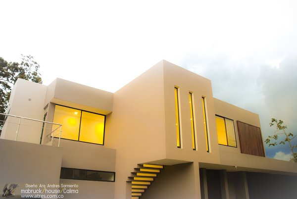 Modern home with trees, outdoor, small pool, large patio, porch, deck, and front yard. Photo 5 of Mabruck House- Calima