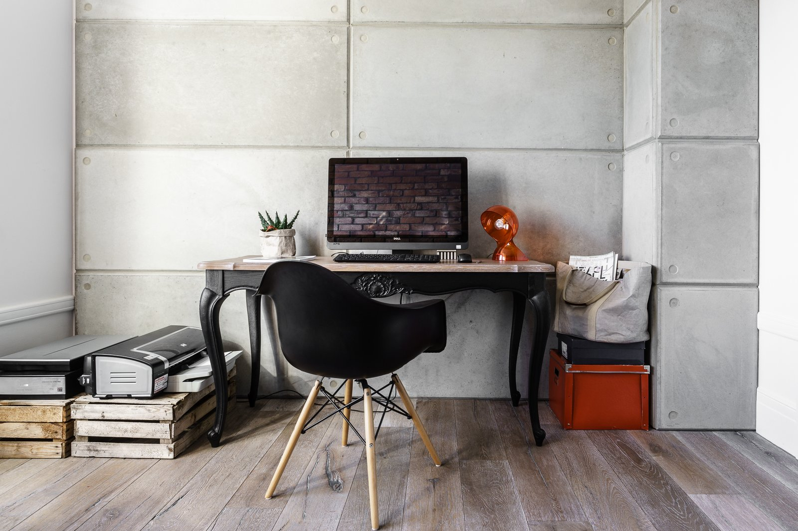 Tagged: Office, Desk, Chair, Study, and Medium Hardwood Floor.  Loft in Poland by Lucyna Kołodziejska | INTERIORS FACTORY