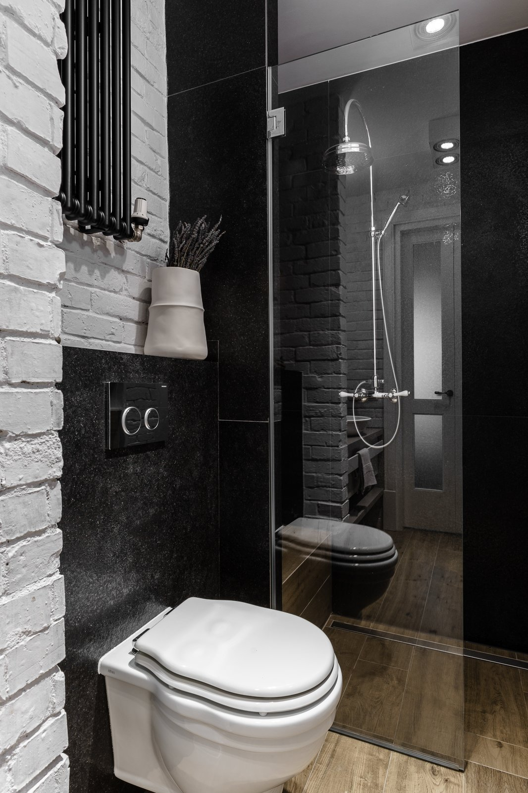 Tagged: Bath Room, Enclosed Shower, Corner Shower, and One Piece Toilet.  Loft in Poland by Lucyna Kołodziejska | INTERIORS FACTORY