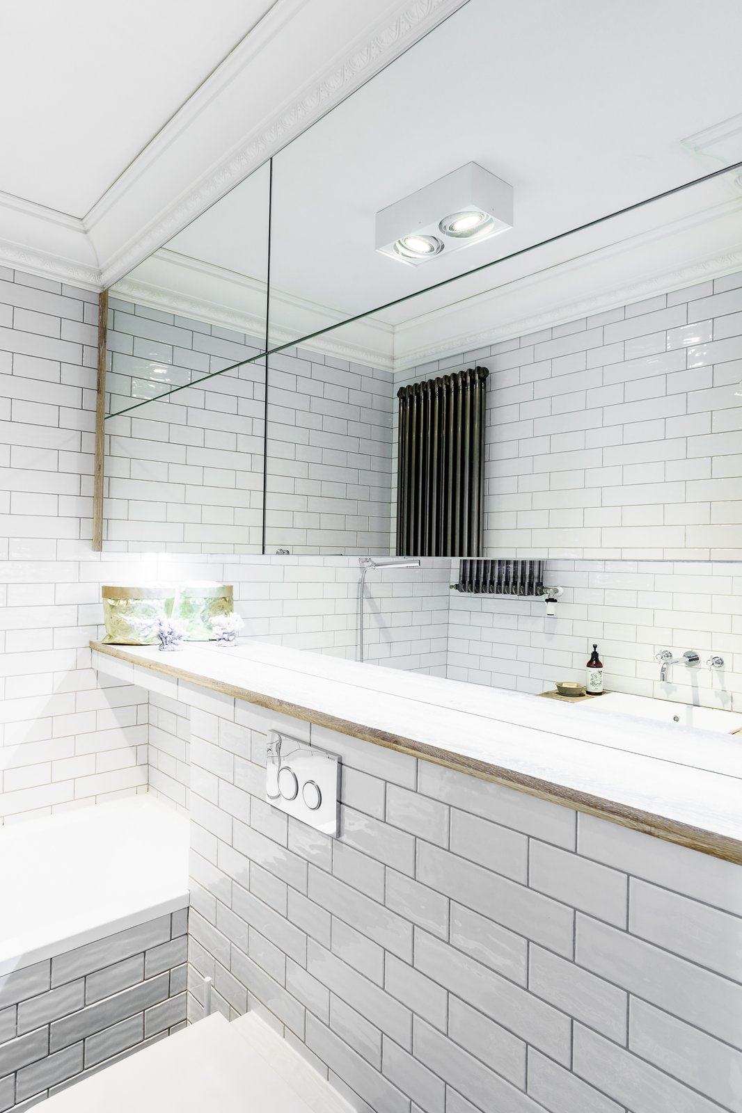 Tagged: Bath Room, Engineered Quartz Counter, Ceiling Lighting, and Ceramic Tile Wall.  Loft in Poland by Lucyna Kołodziejska | INTERIORS FACTORY