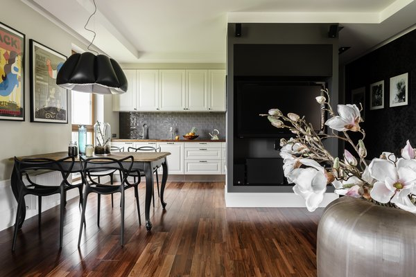 Modern home with kitchen, wood counter, and white cabinet. Photo 14 of Eclectic APARTMENT