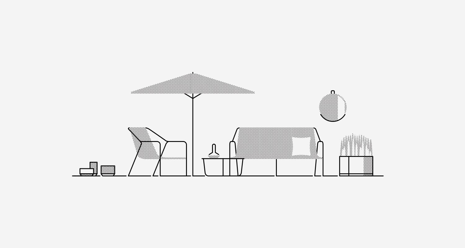 """Modern x Dwell: My simple line and halftone pattern illustration is a reflection of the contemporary esthetics created for the Modern x Dwell collection. Self initiated project.  This collaboration between Dwell and Target has produced a thoughtful collection of well designed modern pieces. Most pieces represented in my illustration are the outdoor patio collection – pieces include (from left to right) are: Terracotta 6"""", 9"""" and 10"""" Planters / Outdoor Lounge Chair / Umbrella Navy/White / Outdoor Side Table + Lantern Large Copper / Outdoor Sofa + Geo Pillow / Round Metal Shelf Mirror / Hexagons Concrete Planter."""