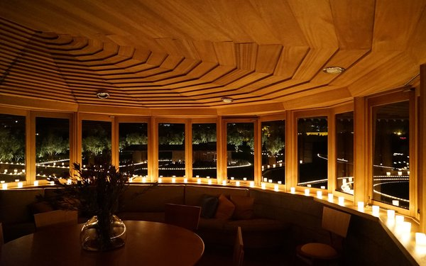 Master bedroom view to guest house at night. Photo 10 of David Wright House modern home