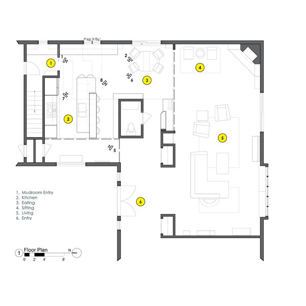 Floor plan showing the extent of the remodel/program & corresponding camera shots w/ numbers. Photo 3 of SMITH Kitchen modern home