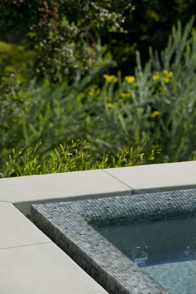 Ann Sacks glass tile forms the infinity edge of the spa. Photo 3 of Pasadena Hillside modern home