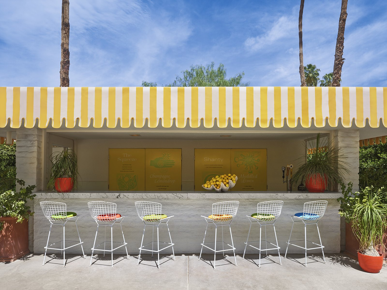 The lemonade stand at the Parker Palm Springs, complete with Bertoia Barstools