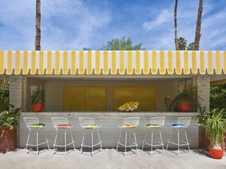Jonathan Adler Reveals His Redesign of the Parker Palm Springs - Photo 2 of 6 - The lemonade stand at the Parker Palm Springs, complete with Bertoia Barstools.