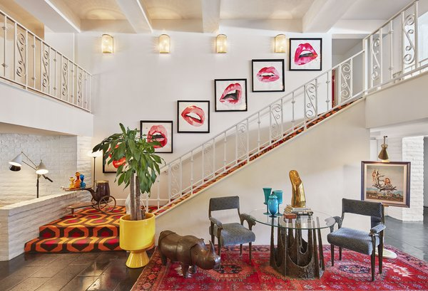 """The stair carpeting in the foyer of the Parker Palm Springs was inspired by hallway flooring from the movie """"The Shining."""""""