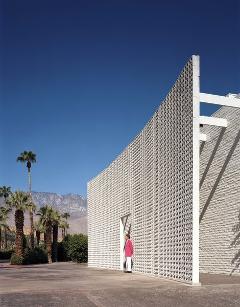 A 23-foot breeze block brise soleil flanks the entrance of the Parker Palm Springs.
