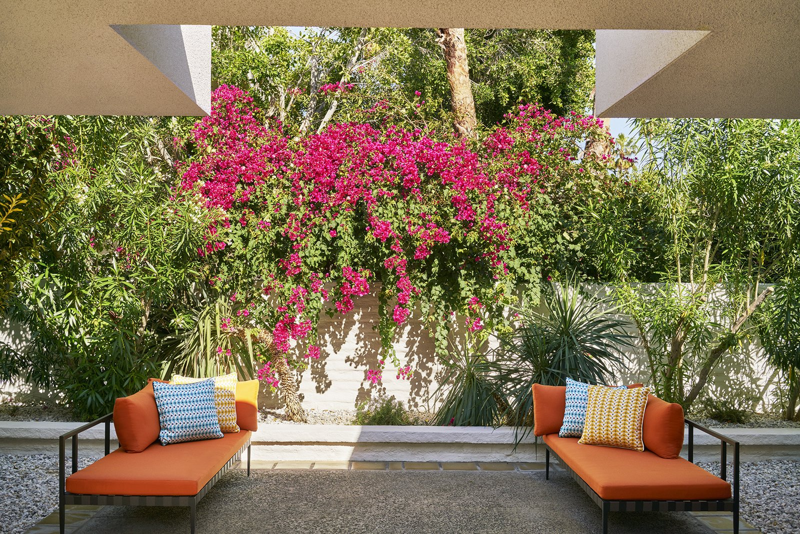 Lush, tropical landscapes designed by Judy Kameon blanket the Parker Palm Springs.