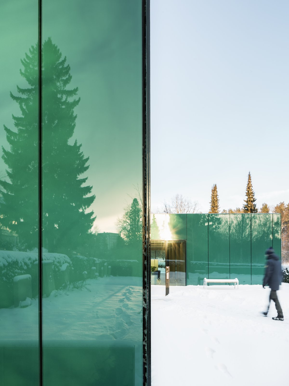 One of architect Gert Wingårdhs' favorite parts of the building is the reflection in the glass (although self-described as cliché).