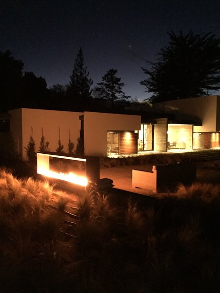 10 ft Cor-Ten fireplace. Photo 3 of Five Palms modern home