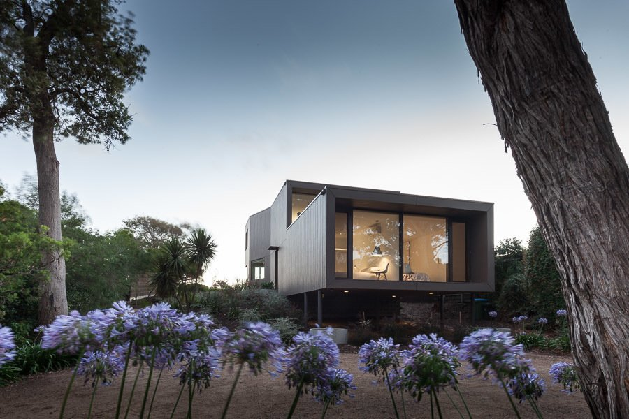Street Facade Tagged: Outdoor, Front Yard, Shrubs, and Trees.  Residence J&C by Open Studio Pty Ltd Architecture