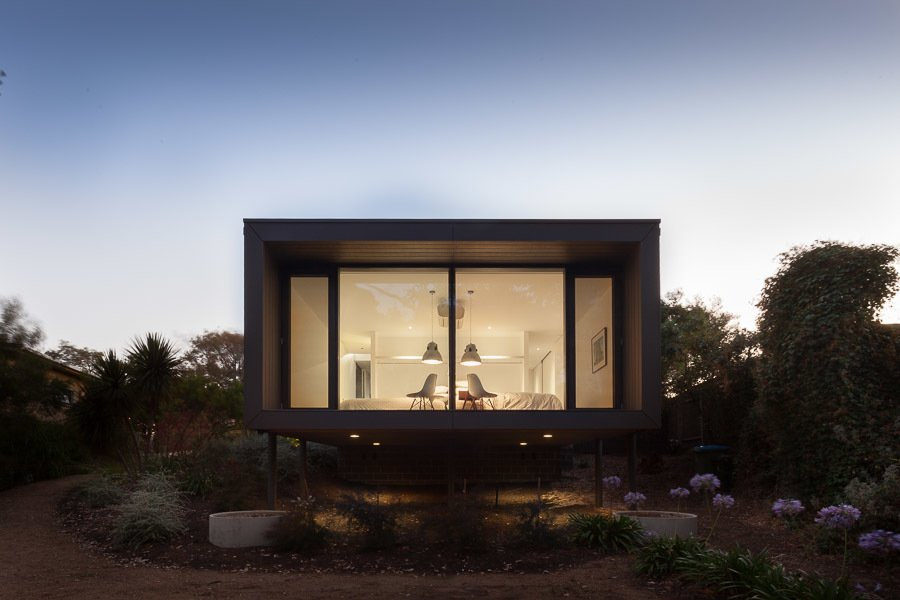 Street Facade at Dusk Tagged: Windows, Picture Window Type, and Wood.  Residence J&C by Open Studio Pty Ltd Architecture