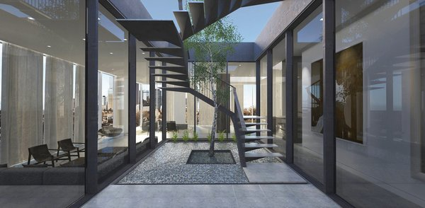 Modern home with staircase, metal tread, stone tread, and metal railing. Courtyard and Stair to roof  Photo 3 of Union Center Penthouse