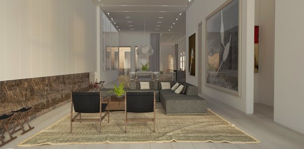 Modern home with living room, sofa, ceiling lighting, chair, coffee tables, recessed lighting, light hardwood floor, and gas burning fireplace. Living Photo 2 of Mercer Street Loft