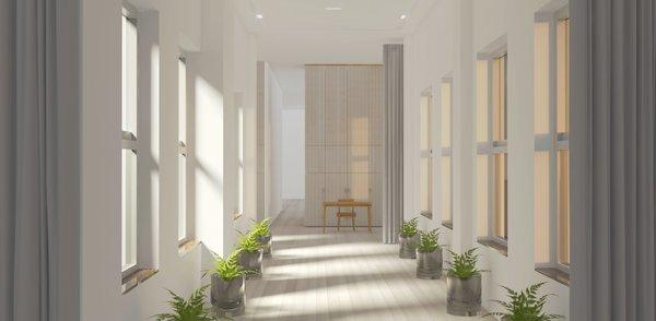 Modern home with hallway and light hardwood floor. Hallway Photo 4 of Mercer Street Loft