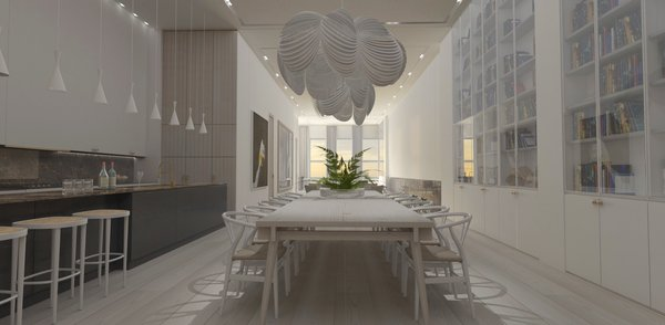 Modern home with dining room, chair, table, pendant lighting, recessed lighting, accent lighting, track lighting, ceiling lighting, and light hardwood floor. Dining  Photo 5 of Mercer Street Loft