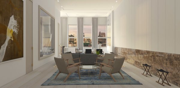 Modern home with living room, chair, coffee tables, bookcase, ceiling lighting, recessed lighting, light hardwood floor, and gas burning fireplace. Sitting Photo 6 of Mercer Street Loft