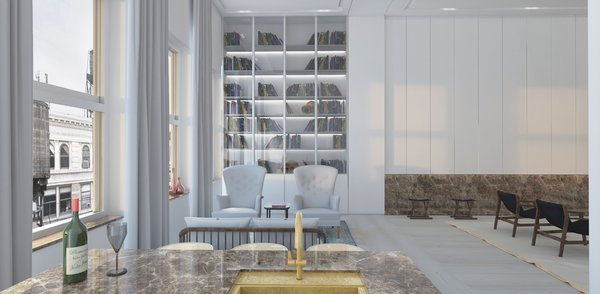 Modern home with office, study, library, den, bookcase, shelves, light hardwood floor, and storage. Library  Photo 8 of Mercer Street Loft