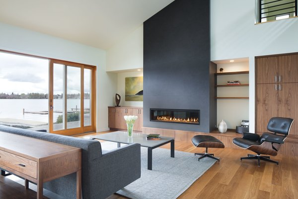 Contemporary living room with a lakeview.  Photo 2 of The Lakehouse modern home