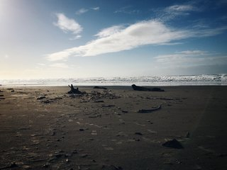 Finding Lagom - Photo 1 of 2 - Footsteps in the sand. Nehalem, OR.