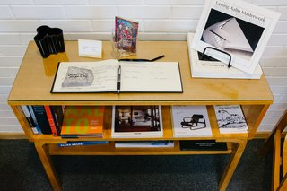A table honoring Aalto's work greets library visitors toward the entrance.