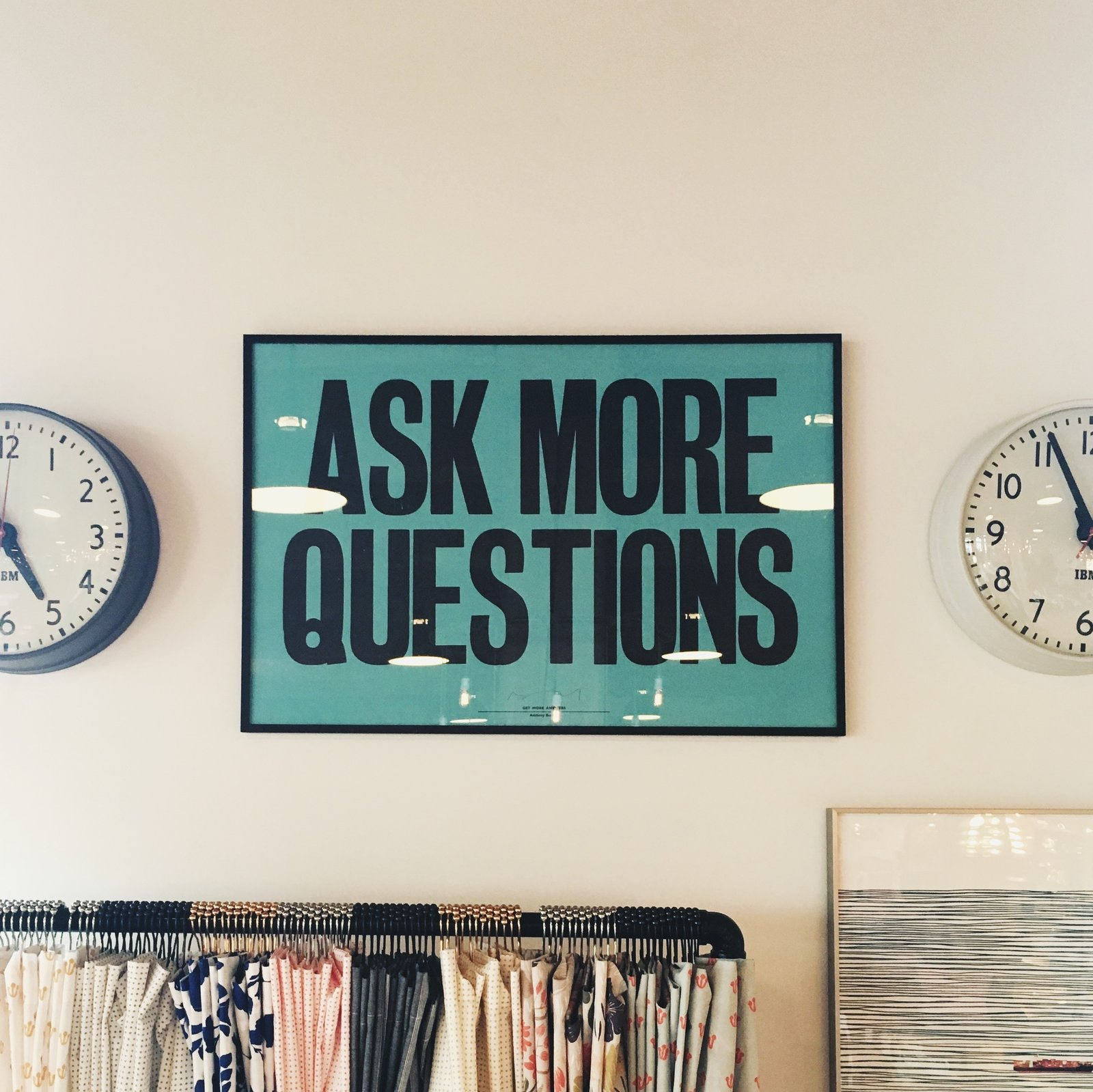 "This shot of the ""Ask More Questions"" poster represents curiosity, which is at the heart of the creative process, and is also more personal for me. I've always been curious and asked lots of questions. This artifact reminds me of that.  Schoolhouse Electric by J---S"
