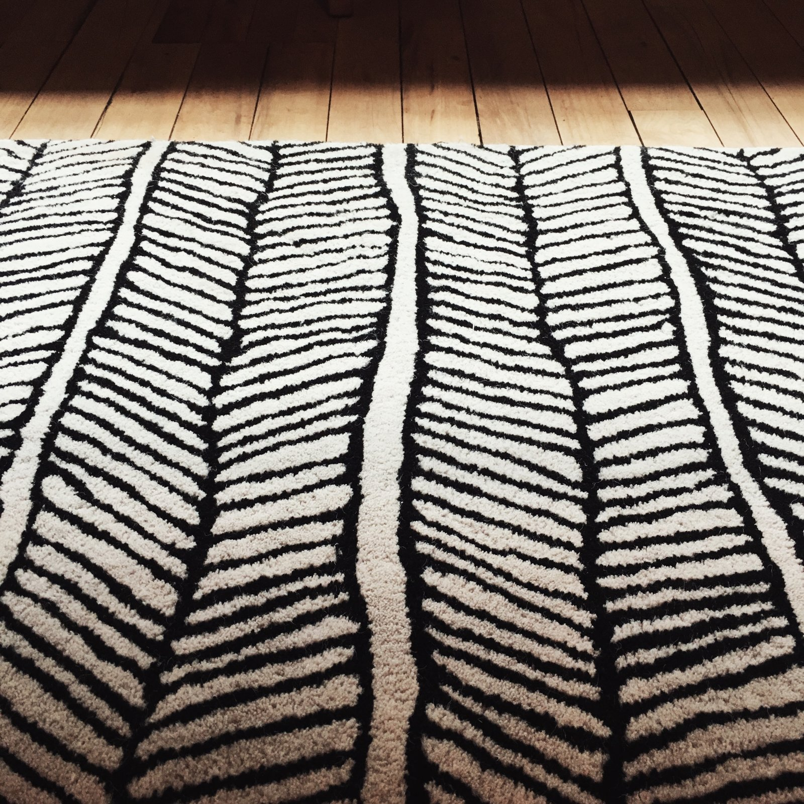Black and white area rug creates beautiful texture and offsets the warmth of reclaimed wood flooring.
