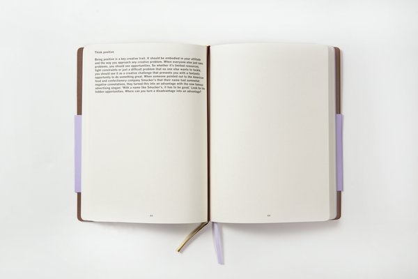 The Idea Generation book has some guided ways to start thinking creatively, followed by pages and pages of empty space to fill up.