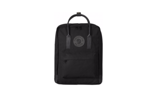 A leather-trimmed black on black Kånken backpack, compact for everyday carry.
