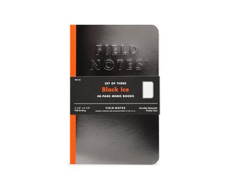A shiny, embossed, PUR-bound set of 3 Field Notes books.