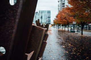 A dense moody shot from a rainy fall day in Portland's Pearl District.