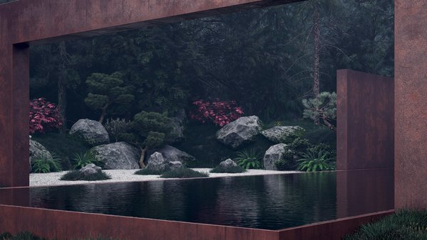 Modern home with infinity pool and outdoor. An edgeless pool creates a smooth glass-like effect, reflecting the thickly forested surroundings. Photo 2 of Rose House