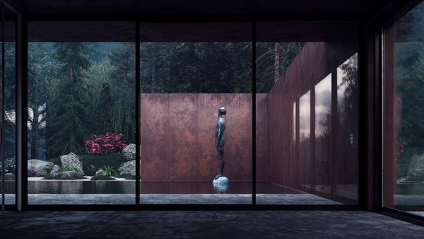 Modern home with concrete patio, porch, deck and windows. A large copper statue gazes upward, inviting visitors to get lost in the rugged landscape. Photo 5 of Rose House