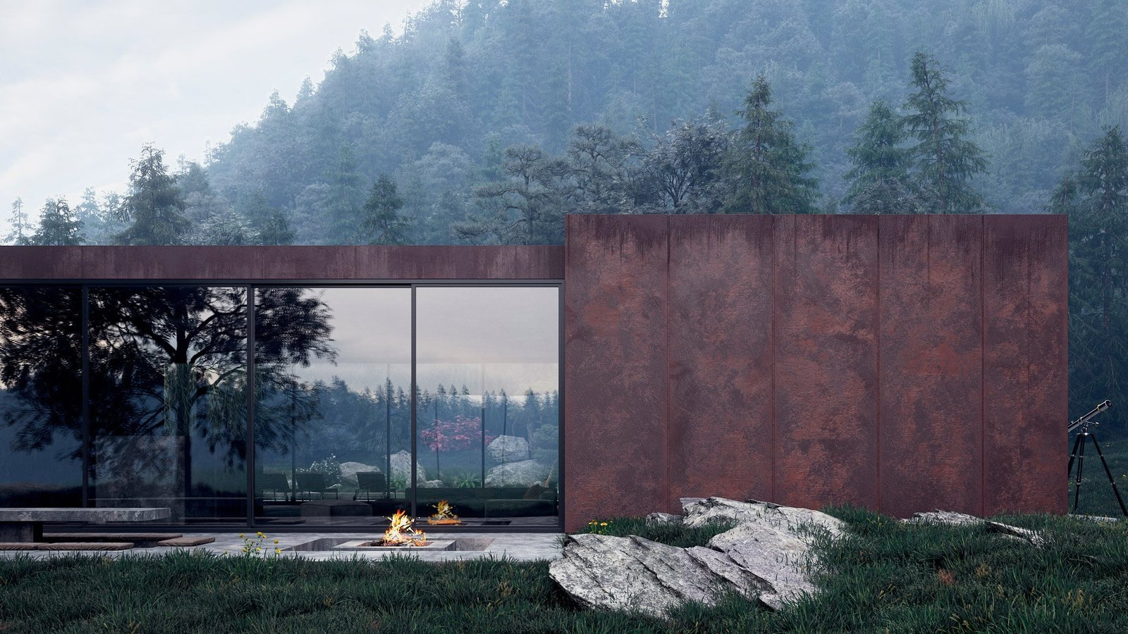 A fireplace and large outdoor patio sit opposite the pool and inner atrium and creates a warm gathering place for visitors. Tagged: Concrete Patio, Porch, Deck and Outdoor.  Studio by Bridget Bodenham from Rose House Blooms in Ukraine's Carpathian Mountains