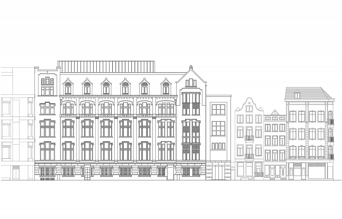 A rendering of the Kas Bank façade alongside adjacent neighborhood buildings.  Photo 4 of 14 in Formerly a Historic Bank, This Amsterdam Hotel Honors its Stately Roots