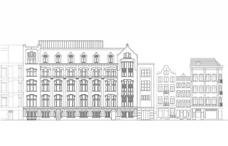 Formerly a Historic Bank, This Amsterdam Hotel Honors its Stately Roots - Photo 4 of 14 - A rendering of the Kas Bank façade alongside adjacent neighborhood buildings.