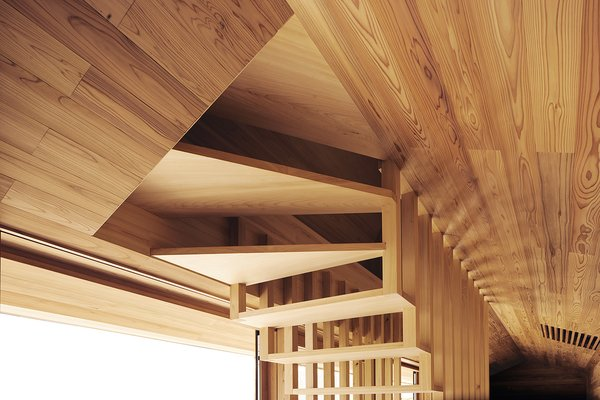 Modern home with living room. The open design of the stairway is revealed in this shot, creating a unique pattern this is reflected in staircase railings and vents. Photo 8 of Yoshino Cedar House
